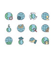 world map global icons set line filled vector image vector image