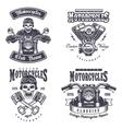 Set of vintage motorcycle emblems vector image