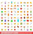 100 breakfast icons set cartoon style vector image vector image