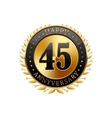 45 years anniversary golden label vector image vector image