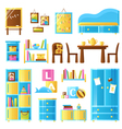Baby Room Furniture Colored Set vector image vector image