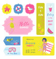 beach vacation childish tags fabric badges vector image vector image