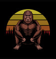 bigfoot squat sunset retro vector image vector image