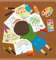 boy draws on the floor vector image vector image