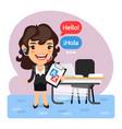cartoon businesswoman language translator vector image