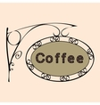 coffee text on vintage street sign vector image vector image