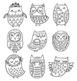 collection of hand drawn owls in tribal vector image vector image