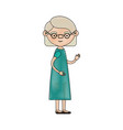 color crayon silhouette of full body elderly woman vector image vector image