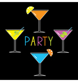Colorful martini set on black Cocktail party vector image