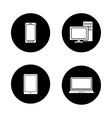 Consumer electronics black icons set vector image