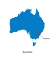 Detailed map of Australia and capital city vector image vector image