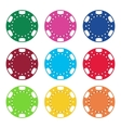 Gambling casino poker chips color set vector image