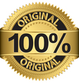 Golden 100 percent original label vector image vector image