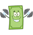 Green dollar bill cartoon vector image vector image