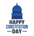 happy american constitution day logo icon flat vector image