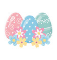 happy easter day decorative painted eggs flowers vector image