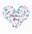 happy mothers day card pink spring flower heart vector image vector image