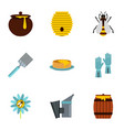 honey and bee icons set flat style vector image vector image