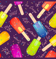 ice cream popsicles seamless pattern vector image vector image