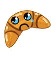 kawaii cute crying croissant bread vector image vector image