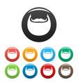 man beard icons set color vector image