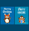 merry christmas cards penguins in hat and scarf vector image vector image
