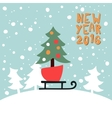 New Year Greeting card with a picture of Christmas vector image