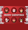 paper art collection christmas characters vector image
