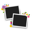 photo frame with retro background with flowers vector image vector image