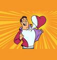 qatar patriot male sports fan flag heart vector image vector image