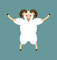 ram happy sheep merryl emoji farm animal vector image vector image