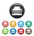 round button typewriter icons set color vector image