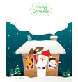 Santa Claus Snowman And Animals In House vector image vector image