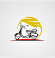 scooter bike with sun logo icon elementand vector image