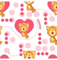 Seamless pattern with cute cartoon cat and heart vector image