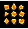 set cartoon orange different shapes crystals vector image vector image