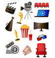set colorful cinema icons different modern vector image
