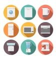 Set of household appliances flat icons on colorful vector image