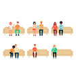 set people and couples sitting on couch cartoon vector image