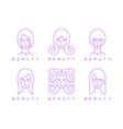 thin line girl head woman face beauty logo vector image vector image