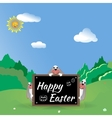 Three Easter bunny in the forest glade vector image vector image