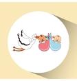 twins stork birth cartoon design vector image