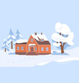 village house and trees covered with snow wintery vector image