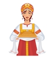 Woman in russian clothes with round loaf vector image