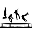 Children silhouettes jumping on garden trampoline vector image