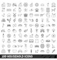 100 household icons set outline style vector image vector image