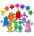 basic colors with aliens characters group vector image vector image