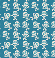 Blue seamless background Skull and bones Pirates vector image
