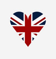 britain flag with heart vector image vector image