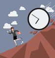 Business woman running away from clock attack vector image vector image